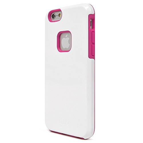 iLuv iPhone 6 /6s Dual Layer Protective Case with Hardshell Exterior, Shock Absorbing Patterned TPU Interior, Raised Lip on Edge, Responsive Button Cover, and Stylish Design for iPhone 6 /6s (White)