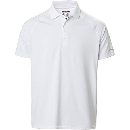 Musto Polo Hommes Evolution Sunblock 2.0 - Blanc - Manches Longues - Fabriqué pour améliorer considérablement Le Confort lorsqu';il est Active - Col côtelé