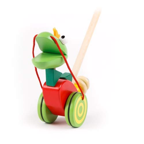 Brink Holzspielzeug Schiebefigur Drache Schiebetier auf Rädern Kleinkind Schiebe-Laufrad mit Lauf-Stock