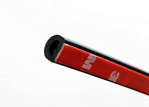Sello para puerta con forma de D autoadhesivo, 9,6 mm de alto x 15 mm de ancho M M SEALS A074 color negro