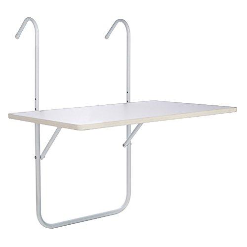 FineHome Handige klaptafel, hangtafel, campingtafel, balkontafel, inklapbaar, wit, 60 x 40 cm
