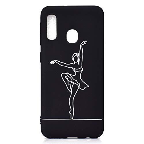 CUAgain Funda Compatible con Samsung Galaxy A20e 2019 Negro Silicona Dibujos Motivo Kawaii Ultrafina One Piece Carcasa Case Antigolpes Bumper Protección Resistente Cover,Ballet
