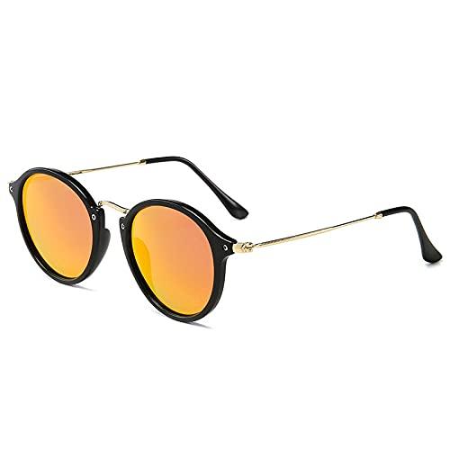 DLSM Vintage Gafas de Sol Mujer/Hombres Clásico Redondo Sun Glass Retro Sunglass UV400 Adecuado para Deportes al Aire Libre y Senderismo-C6