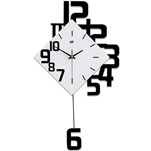 qwqqaq Péndulo Reloj De Pared Moderna, Estilo Japonés Madera Sala De Estar Swing Reloj De Pared De Cuarzo, Mando Grande Silencioso Decoración Casera-Negro 69x38cm(27x15inch)