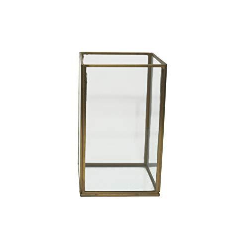 LaLe Living Laterne BATU S aus Eisen in Vintage Gold, Windlicht 12 x 20 cm für Stumpenkerzen und Teelichter