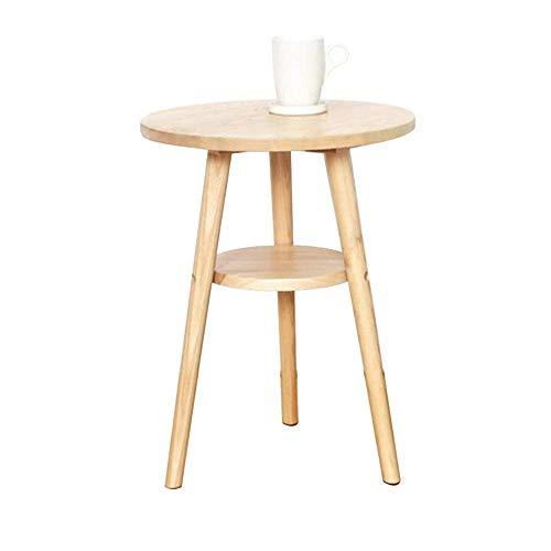 Mesa de centro redonda japonesa de 2 niveles, mesa auxiliar moderna de madera maciza para sala de estar, mesa auxiliar para sofá de dormitorio, mesitas de noche con estante de almacenamiento, color no