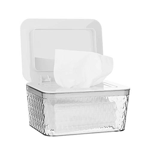 Jitnetiy Wipes Holders, Large Capacity Wipes Dispenser Box Wipes Case Dustproof Wipes Box with Lid Keep Diaper Wipes Fresh (White)
