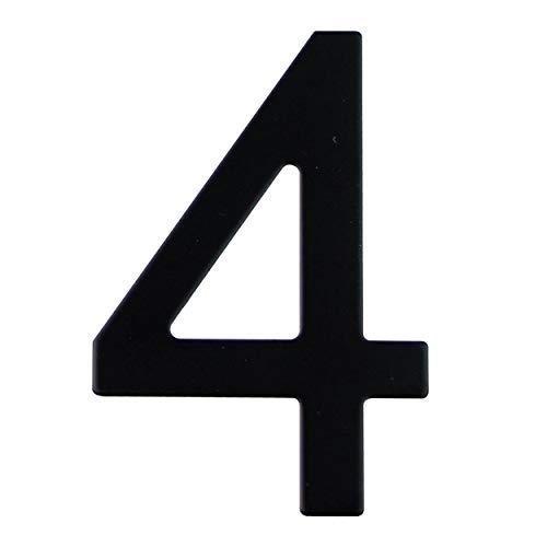 Número de calle en acero inoxidable negro mate, con dorso adhesivo, con una altura de 76 mm, número de casa, diseño de puerta (4)