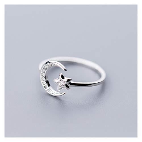 KXLB Kxlbhjxb Real 925 Sterling Silver Minimalista Zircon Moon Star Split Ring, Adecuado for Fiesta de Mujer