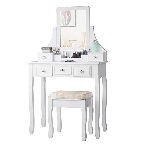 COSTWAY Tocador con 5 Cajones Mesa de Maquillaje con Espejo Giratorio de 360 ° y Taburete Mesa de Cosméticos para Dormitorio (Blanco y Beige)