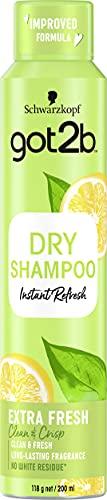 Got2b - Champú Seco Frescor Extra, 200 ml, Refresca tu cabello al instante, Un día de extra de frescor para tu cabello
