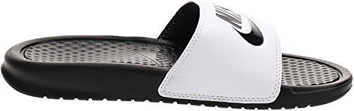 Nike Mens Benassi Solarsoft Slide Athletic Sandal (White/Black/White, numeric_12)