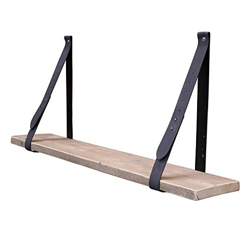 Steigerhoutpassie - Leren plankdrager - Grijs - Set - Verstelbaar - Steigerhout - 100cm