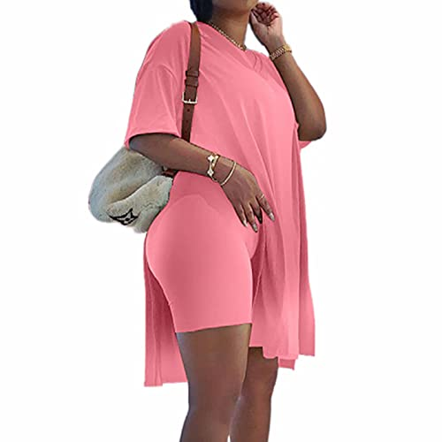 Plus Size Women's 2 Piece Outfits Tracksuits Short Sleeve Tunic Tops Bodycon Shorts Sweatsuit Sets Pink