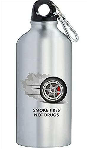 Neumáticos de humo no drogas coche auto JDM botella de agua de acero inoxidable al aire libre entrenamiento ciclismo camping a prueba de fugas plata 400ml
