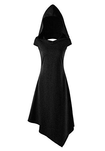 Pommaxe Damen Gothic Kleid Karneval Kostüm Cosplay Kurzarm Hoodie Sommer Schnürung Rückenfrei Kapuzen Party Minikleid,Schwarz,S