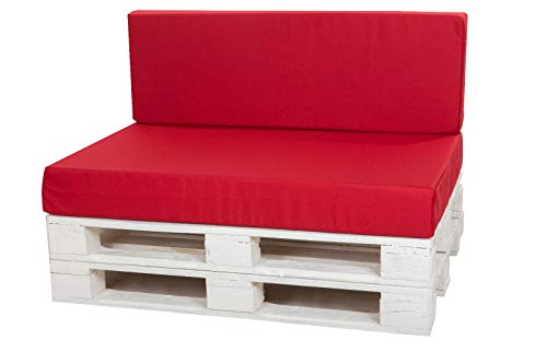 KRUGER cushions for Pallet,rattan furniture,bench or swing, garden mattress, pub, rattan in/outdoor, loft, pad (Cushion:120x80cm, Red)