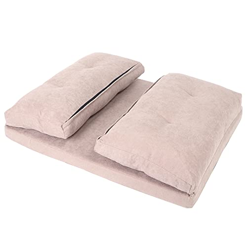 XQAQX Sofá Cama Plegable, sofá Cama Doble Plegable cómodo sofá Tumbona Ajustable con 2 Almohadas para Sala de Estar(Gris)