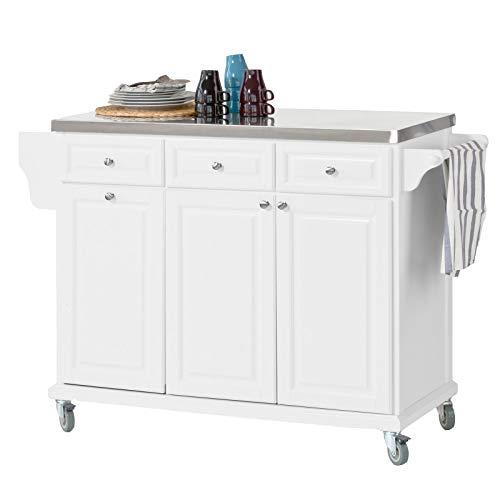 SoBuy FKW33-W Küchenwagen mit Edelstahlplatte Küchenschrank Kücheninsel Servierwagen Rollwagen mit Ablage für Mülleimer Abfalleimer