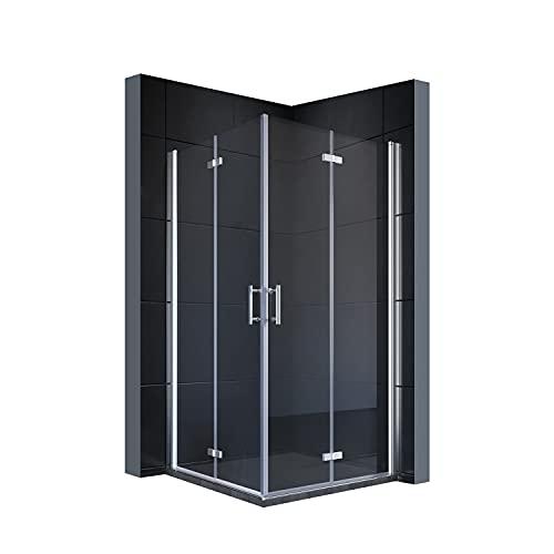 SONNI Duschkabine 90x90 cm falttür Eckeinstieg beide Seiten faltbar Duschabtrennung Faltdusche NANO Glas Doppel Duschtür Höhe 195cm Drehfalttür