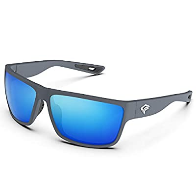 TOREGE Polarized Sports Sunglasses for Men and Women Cycling Running Golf Fishing Sunglasses TR26 (Matte Grey Frame & Ice Blue Lens)
