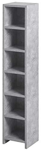 ts-ideen CD-Regal 6 Fächer Standregal CD Aufbewahrung Holz Betonoptik 105 x 20 cm