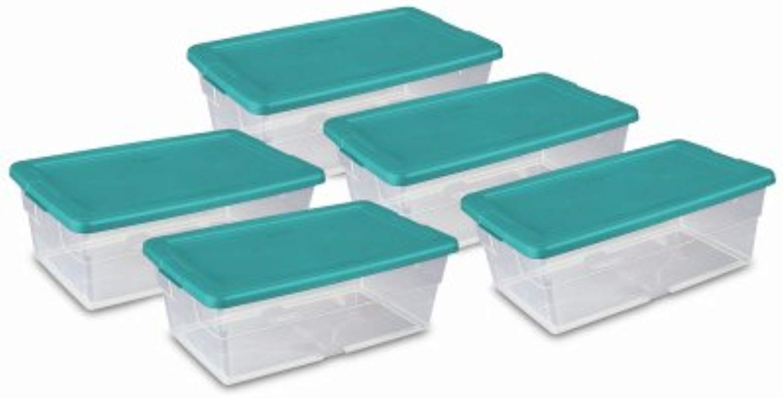 STERILITE 16433W06 6 QT Clear Storage Boxes Banded Together 5 Pack