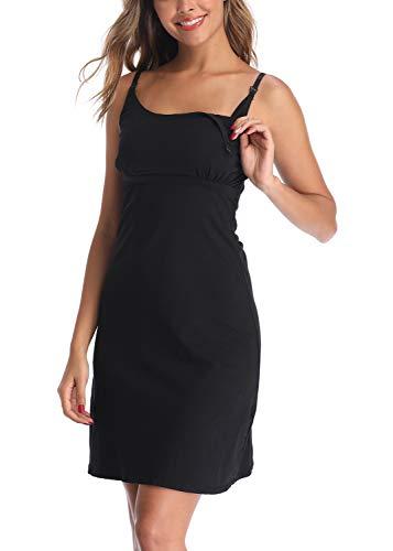 Derssity Stillkleid, Pyjama, Damen, Mutterschaft, Hemden, Stillen, Schwangerschaft, Nacht, ohne Ärmel, kurz Gr. S, Schwarz