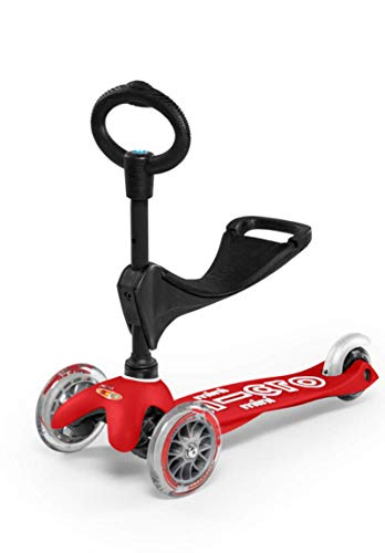 Mini 3in1 Deluxe 3-Stage Ride-on Micro Scooter Toddler Toys for Ages 12 Months to 5 Years - Red