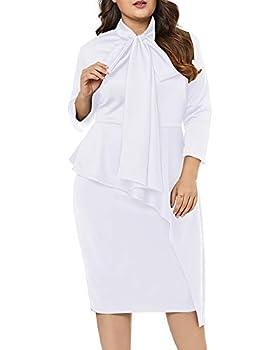 LALAGEN Women s Plus Size Long Sleeve Peplum Tie Neck Bodycon Pencil Midi Dress White XXL