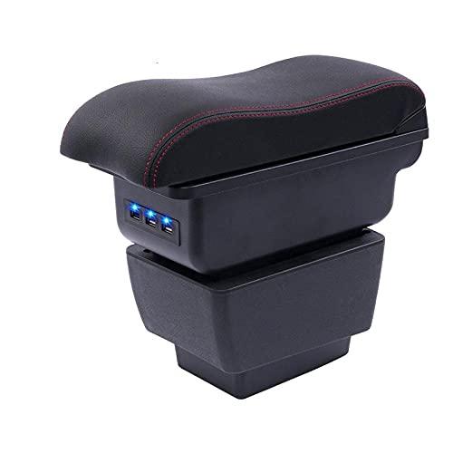 Zyuan Reposabrazos para New Fabia Armrest Box Central Store Content Storage Skoda Fabia 3 Box Box con Taza de Copa Ashtray USB 2015 2020 Accesorios Interiores ShanDD (Color : A Black Black Line)