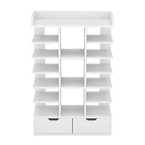 KEEPREAPER White 6 Tier Shoe Rack Organiser,Shoe Cabinet Cupboard Shoe Storage Organiser Free Standing Wooden Furniture Unit