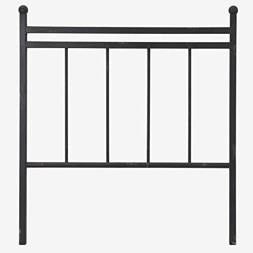 Better & Best 1409004 Cabecero cama de 90 barrotes hierro negro de hierro, color: negro