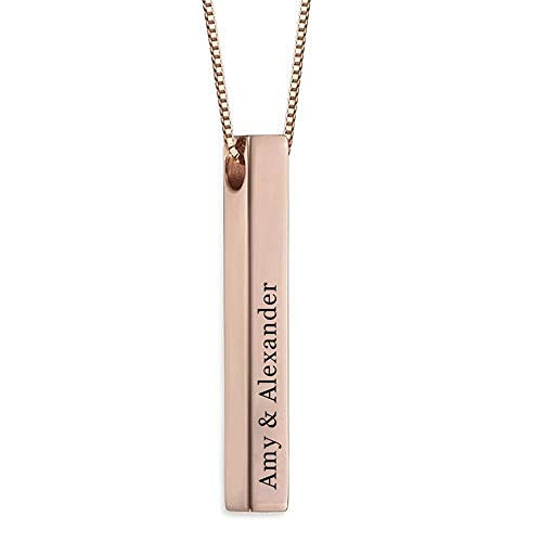 Stɑy Real Custom Vertical Bar Necklace 3D Bar Personalized Gift Mom Necklace Baby Name Pendant Necklace Rose Gold,18'(45cm)-Adult
