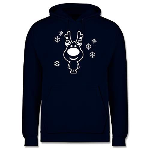 Weihnachten & Silvester - Rentier Schneeflocken - XXL - Navy Blau - Kerzen adventskranz - JH001 - Herren Hoodie und Kapuzenpullover für Männer