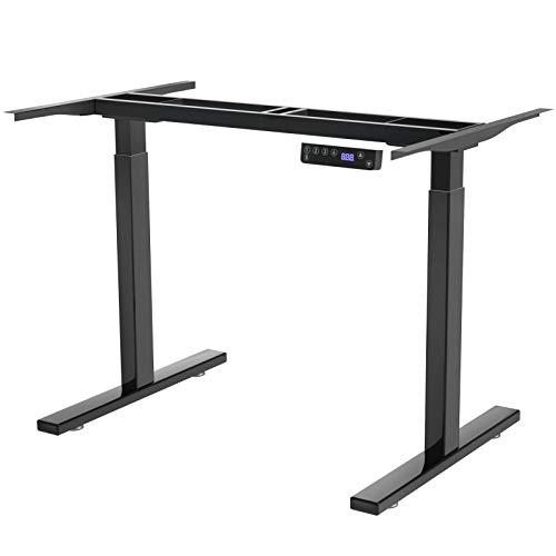 DCHOUSE Escritorio eléctrico de altura regulable, estructura de mesa de ordenador ergonómica en negro, 2 compartimentos, con función de memoria.