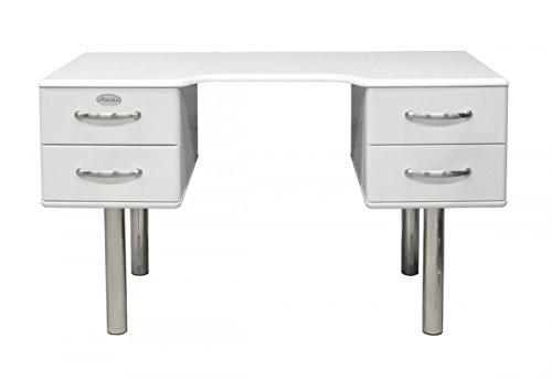 Schreibtisch Tenzo Malibu 130 cm mit 4 Schubladen MDF lackiert Farbe wählbar, Farbe:Weiß