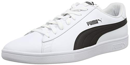 PUMA Smash V2 L, Zapatillas Unisex Adulto, Blanco White Black, 46 EU