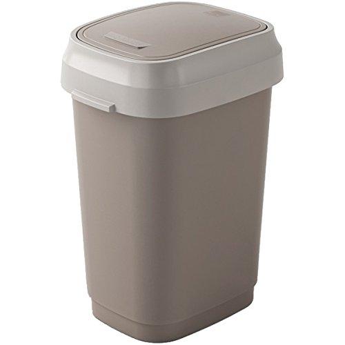 Kis 8075000 0462 01 Abfallbehälter Dual Swing, 10 L, Plastik, braun / beige, 19 x 25 x 33 cm