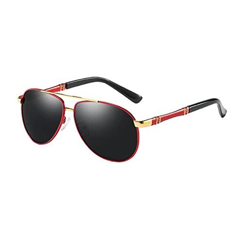 DovSnnx Unisex Polarizadas Gafas De Sol 100% Protección UV400 Sunglasses para Hombre Y Mujer Gafas De Aviador Gafas De Ciclismo Ultraligero Miroir Crapaud Montura De Oro Rojo Lente Gris