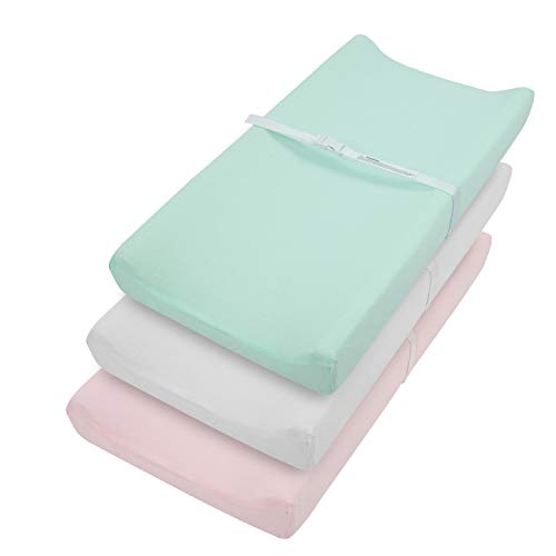 TILLYOU Jersey Knit Ultra Soft Changing Pad Cover Set-Cradle Sheet Unisex Change Table Sheets for Baby Girls and Boys-Fit 32'/34'' x 16' Pad- Comfortable Cozy -3 Pack Lt Pink/Green/Grey