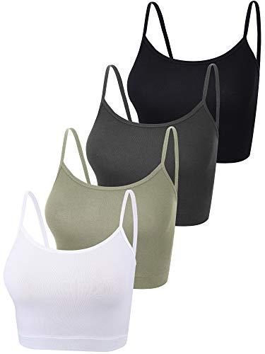 4 Stück Basic Crop Tank Tops Ärmelloses Racerback Crop Sport Baumwolle Top für Damen (Schwarz, Weiß, Dunkelgrau, Oliv, S)