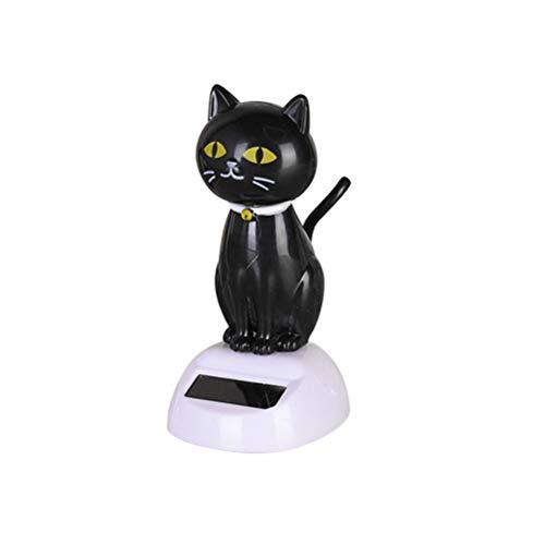 Amosfun Solar-Katze mit Wackelkopf, tanzendes Spielzeug für Auto, Armaturenbrett, Dekoration, Ornamente (schwarz)