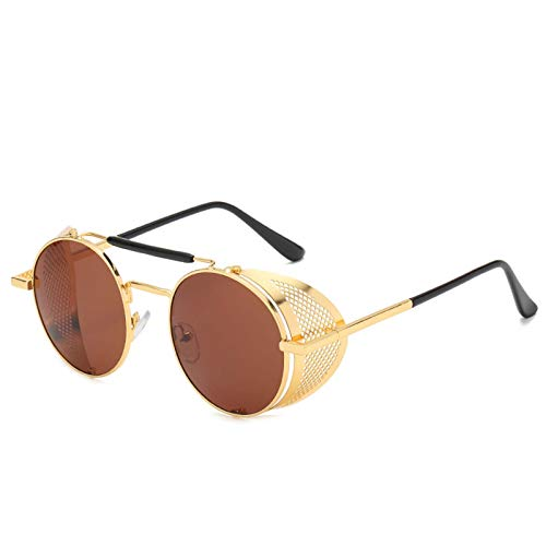 AMFG Steampunk Sunglasses Personalized Windshield Sunglasses Retro Color Película Reflexivo Reflejo Espejo (Color : E)