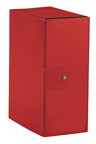 Esselte 390395160- Carpeta de caja para el almacenamiento de documentos a largo mucho, A4, cierre de botón, lomo 15cm (comprimido brillante, rojo), 1 unidad