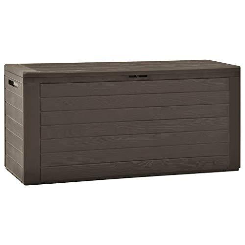 vidaXL Gartenbox Auflagenbox Gartentruhe Kissenbox Truhe Aufbewahrungsbox Gartenmöbel Garten Box Kissentruhe Auflagenkiste Braun 116x44x55cm 290L