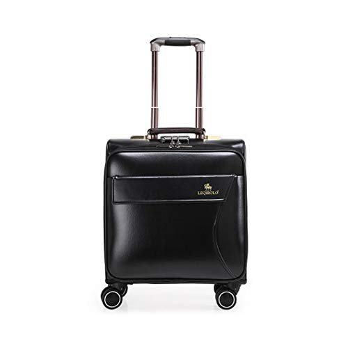 20In Mini Business Suitcase PU Cortex Boarding The Chassis Lightweight Suitcase With Password Lock Durable Trolley Case For Men And Women International Travel,Black