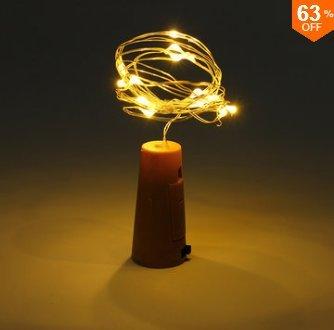 MASUNN Batterie Alimenté 10 LEDs Liège en Forme De Nuit Étoilée Lumière Bouteille De Vin Lampe De Vacances pour Noël Party-Chaud Blanc