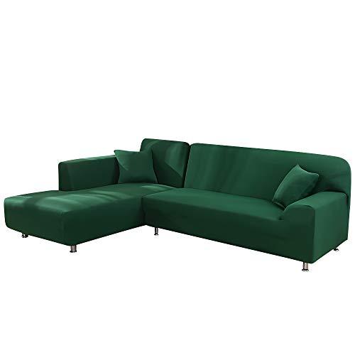 HIFUAR Fundas de Sofá Chaise Longue Elasticas,Moderna Cubre Sofá Cheslongs Antideslizante,Extraíbles y Lavables,Cubiertas Protectora de Sofá en Forma de L 2 Piezas(Verde Oscuro,1 Plaza+2 Plazas)