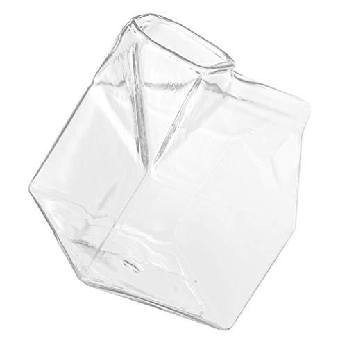 Cabilock Milchglas Tasse Mini Glas Milch Milchkännchen Box Hitzebeständige Mikrowelle Frühstück Glas Milchbehälter Wasser Glas Tasse Becher Fall Box